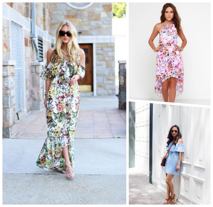 langes sommerkleid mit floralem motiv, festliches outfit damen, hellblaues kleid mit rüschen
