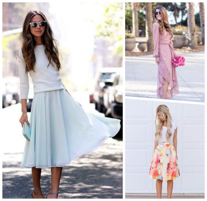 hellblaues rock in kombination mit weißer bluse mit langen ärmeln, festliches outfit damen, langes rosa kleid