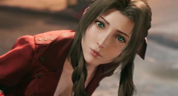 Aerith bei ihrer ersten Begegnung mit Cloud, sie ist mit roter Jacke angekleidet, Heldin aus Final Fantasy VII