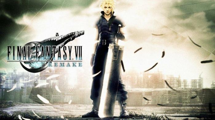 Cloud trägt seinen Schwert, Feder fallen von dem Himmel, eine Stadt in Hintergrund, Final Fantasy VII