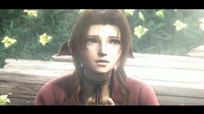 die letzte Szene mit Aerith, so sieht sie in den Filmsequenzen von dem originallen Spiel Final Fantasy VII aus