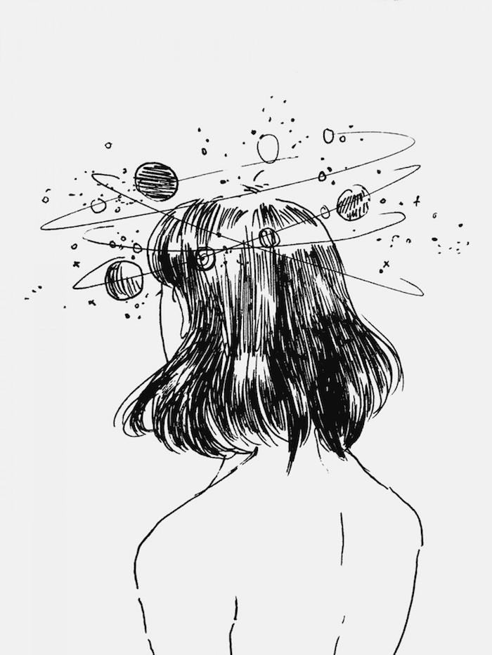 tumblr hintergrundbilder, eine frau hat den kosmos rund um ihren kopf herum idee