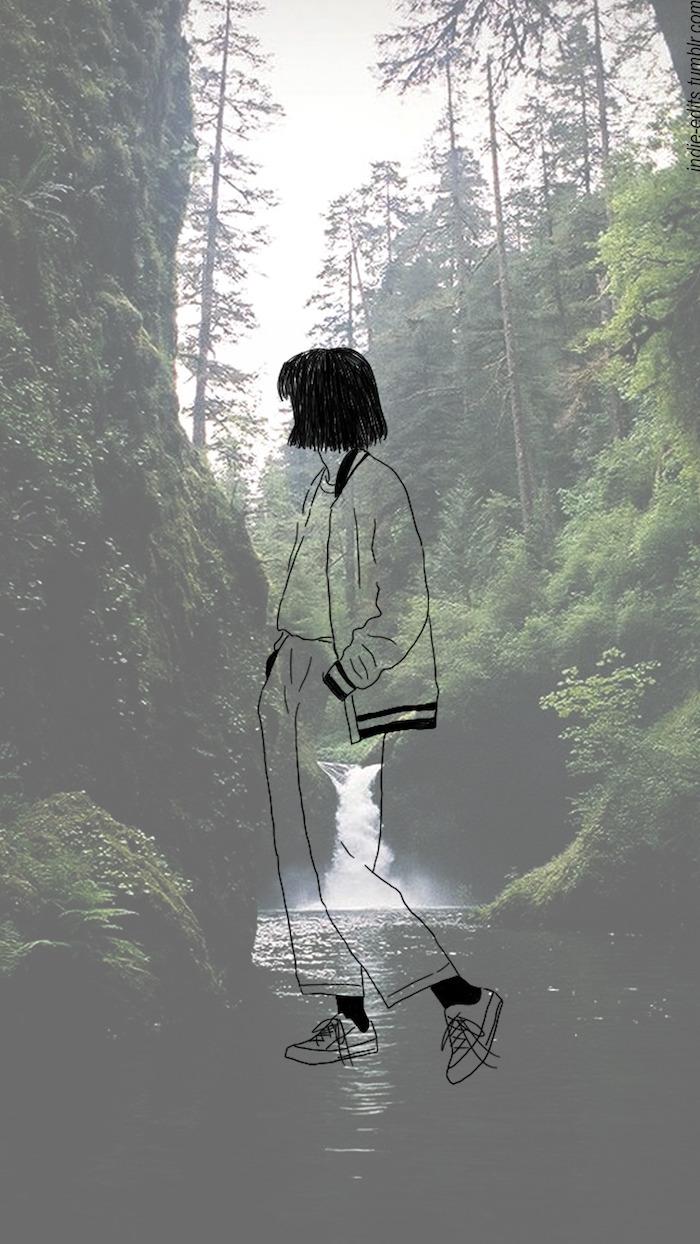 tumblr hintergrundbilder, natur hintergrund und ein mädchen auf dem vordergrund