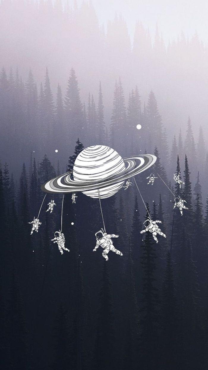 tumblr iphone backgrounds, eine planet und viele kleine kosmonauten daran angehängt