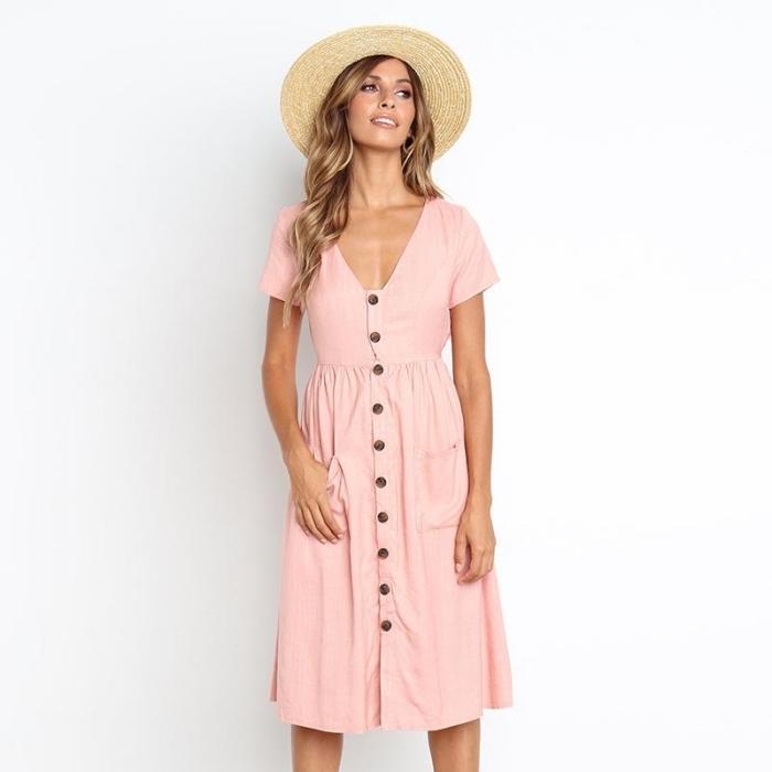 frauen outfits, mindi kleid mit großen knöpfen, rosa sommerkleid mit kurzen ärmeln, hut
