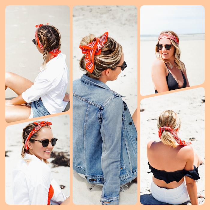 Fünf unterschiedliche Frisuren mit Bandana, Flechtfrisur, Messy Dutt, offene und halboffene Haare