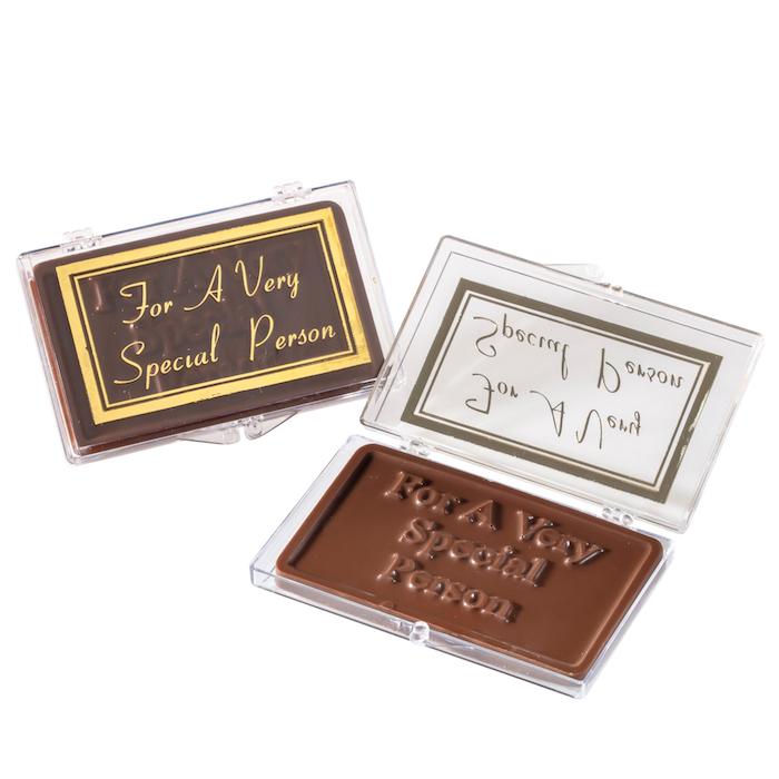 Ein leckeres Geschenk für Gourmets, Tafel Schokolade mit Botschaft