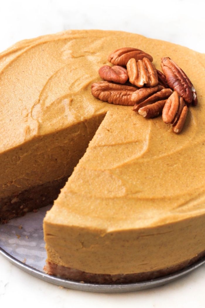 glutenfrei essen, ceesecake mit pekannüssen und kürbis, einfaches rezept, nachtisch ohne gluten