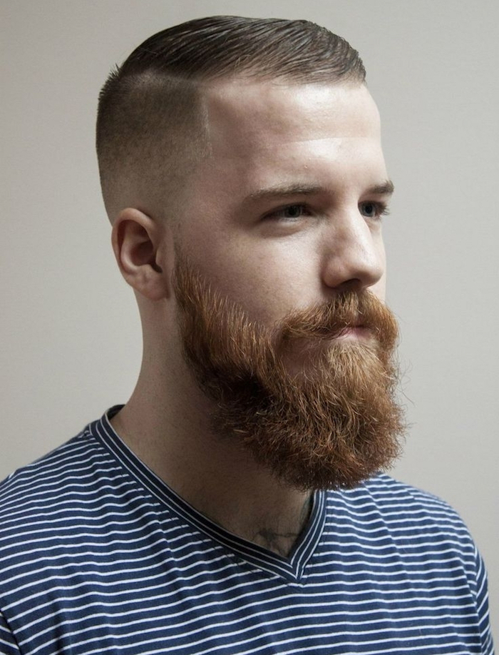 männerfrisuren 2019, kurze haare, langer bart ein mann mit natürlich roten haaren