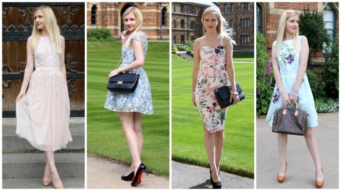 hellblaues kleid, hochzeitsoutfit ideen, sommerkleider mit floralen motiven, schwarze tasche, rosa kleid mit applikationen