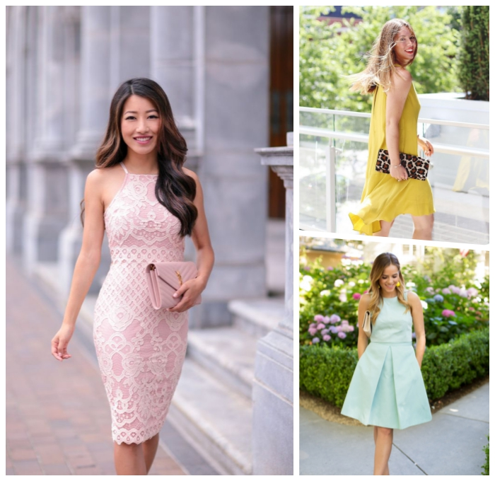 hellblaues kleid in a linie, rosa strickleid, hochzeitsgast outfits frauen, frisur mit locken, sommerkleider