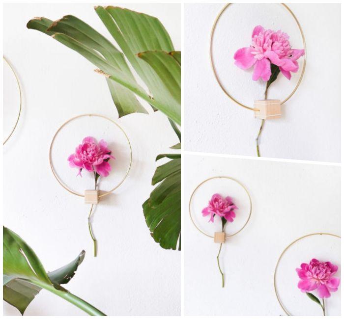 fenster deko herbst, dekor mit blumen, künstliche blumen in lila farbe, einzelne blume als wanddeko