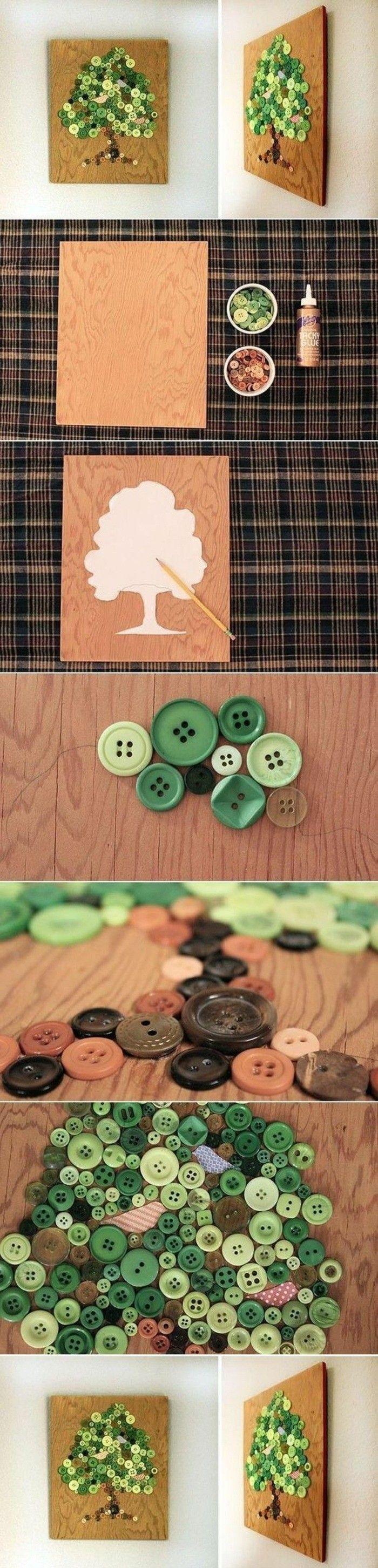 herbstdeko tisch oder wand, diy deko, basteln für erwachsene, viele knöpfe in verschiedene größen und nuancen des grünen