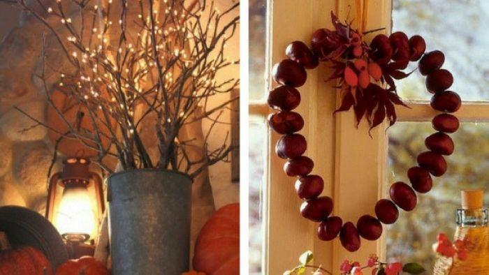 pinterest herbstdeko zwei ideen, eine mit kastanien in form von herz, vase mit ästen und leuchten