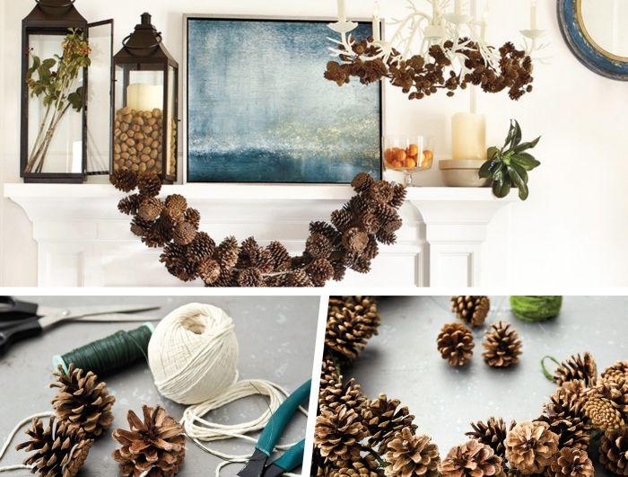 herbstdeko tisch, dekorationen aus zapfen sind schön und easy zu machen, wandbild und zapfengirlande darunter