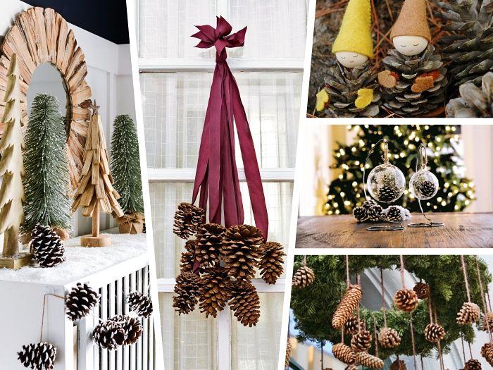 herbstdeko fenster, collage mit bildern zum inspirieren, ideen für deko aus zapfen