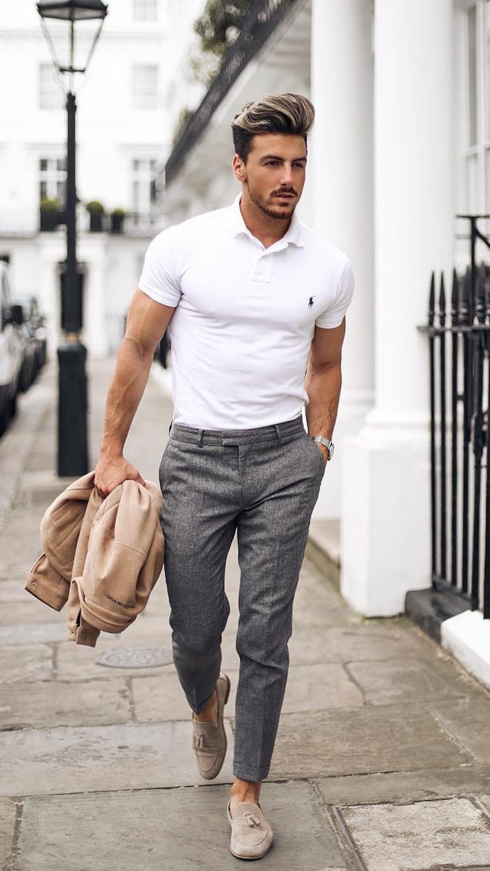 Herrenmode-Trends Frühjahr und Sommer 2019, weißes Polohemd und graue Chino