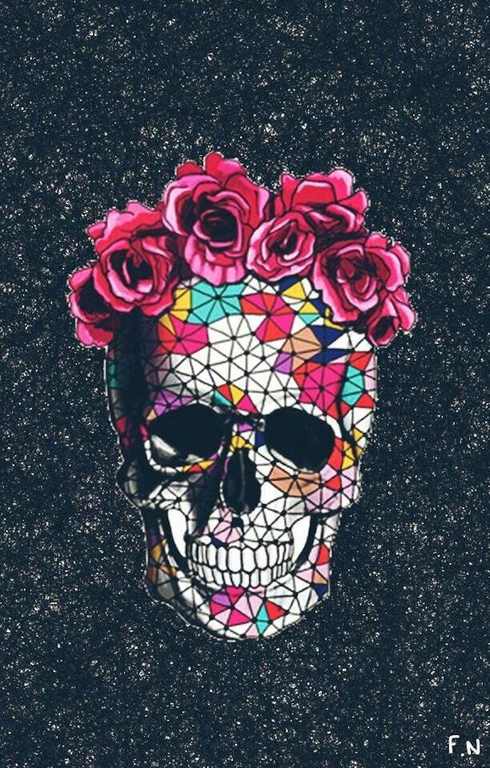 tumblr hintergrundbilder, totenkopf gestaltet aus geometrischen elementen, blumen in dem kopf