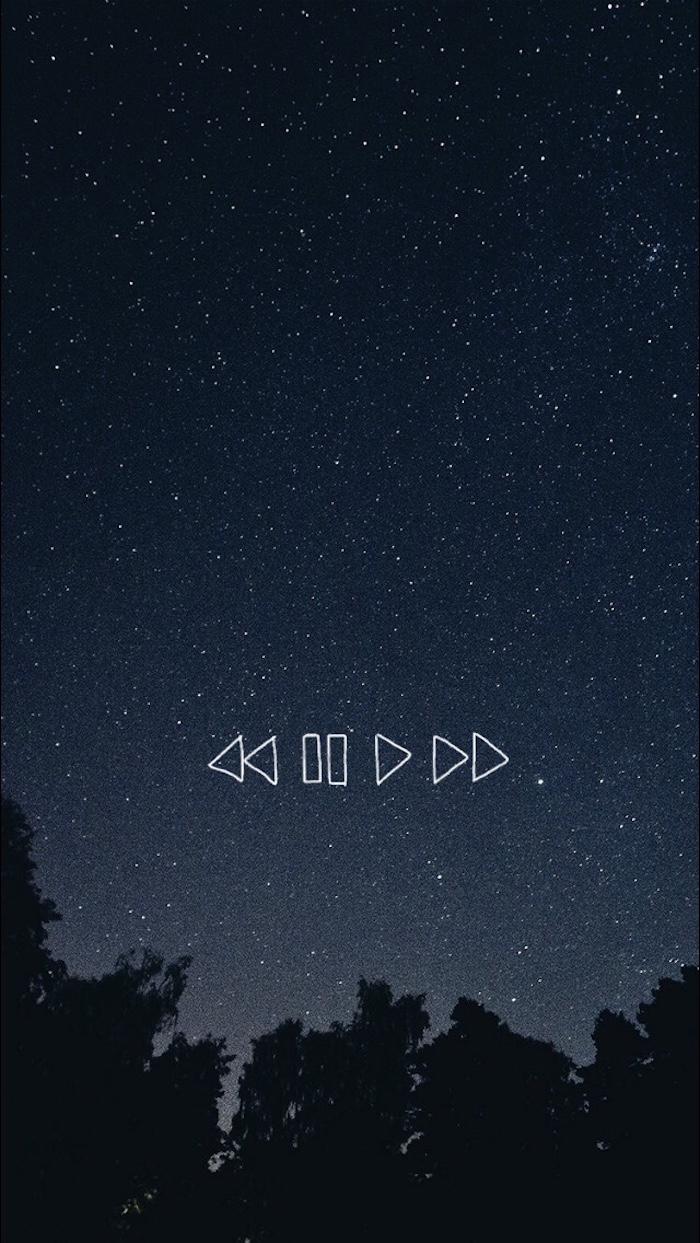 tumblr iphone backgrounds, nachthimmel mit sternen und eine tastatur für radio, play, pause, next