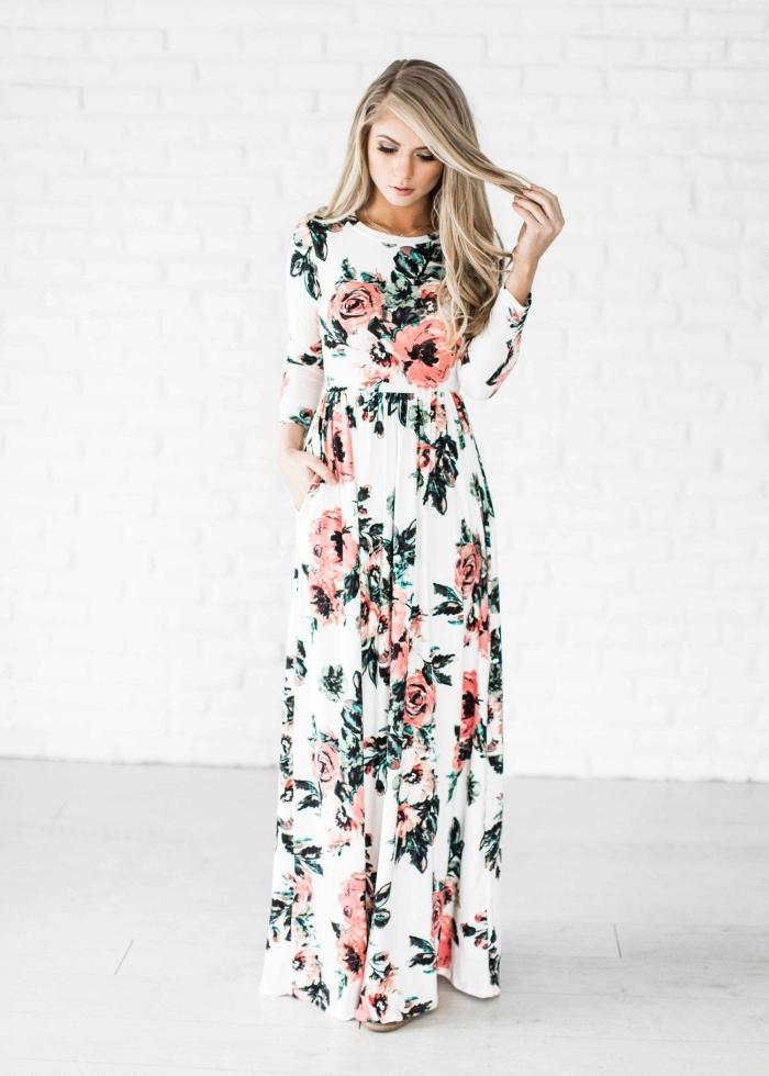 hippie kleid weiß, langes sommerkleid mit langen ärmeln, boho style kleider, soole outfits für damen