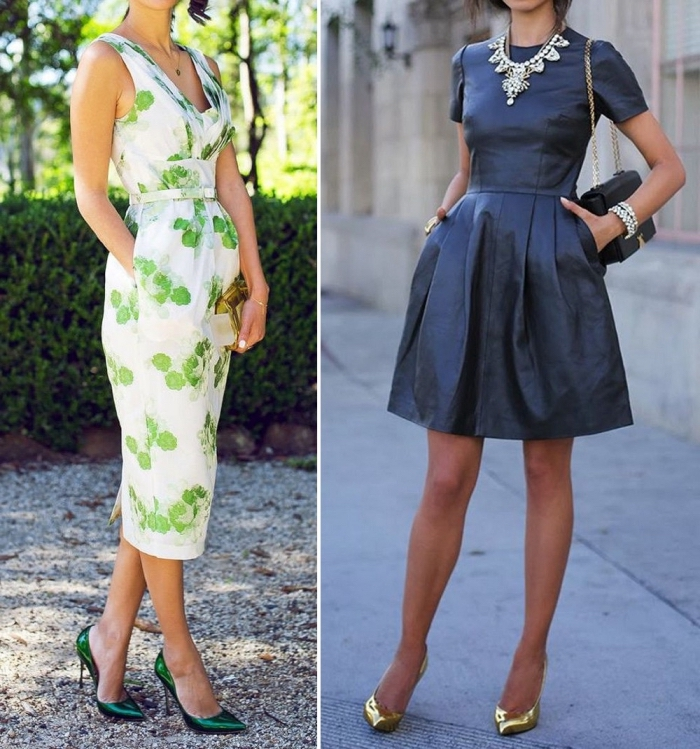 hochzeitsgast outfit, elegantes kleid in grün und weiß, goldene schuhe, große silberne halskette, sommerkleid in grün und weiß