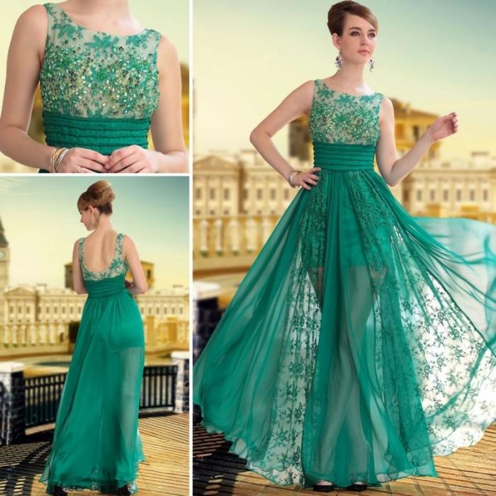 hochzeitsgast outfit ideen, langes grünes kleid mit glitzer, rock aus chiffon, abnedkleid in grün