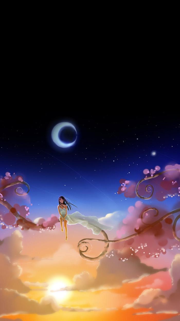 tumblr hintergrundbilder, pokahontas oder mulan, eine schöne frau sitzt auf rosarotem baum unter dem mond