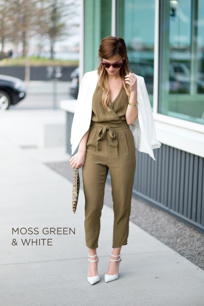 jumpsuit hochzeit, grüne hemdhose in kombination mit weißem sakko und weißen schuhen, sonnenbrille
