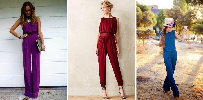 jumpfsuit hochzeit, rote hemdhose, gut mit blumen, graue tasche, hochzeitsgast outfit ideen für frauen