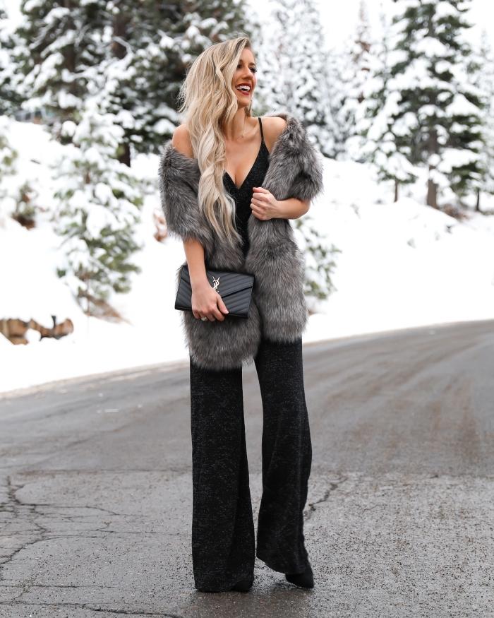 jumpsuit hochzeit ideen, schwarze hemdhose mit weiten beinen in kombination mit grauem fellschal