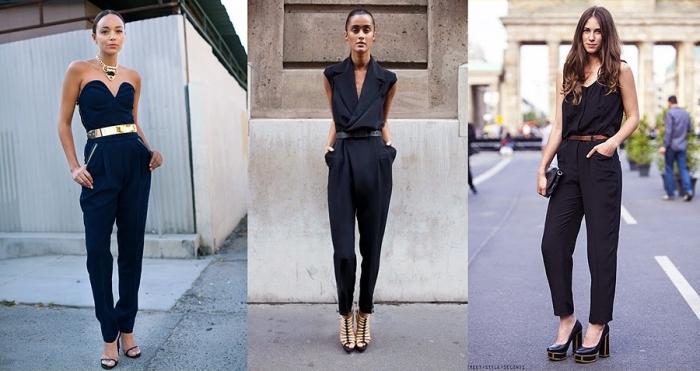 jumpsuit hochzeit, schwarze hemdhose mit herzförmiger dekollete, goldener gürtel, hohe schuhe