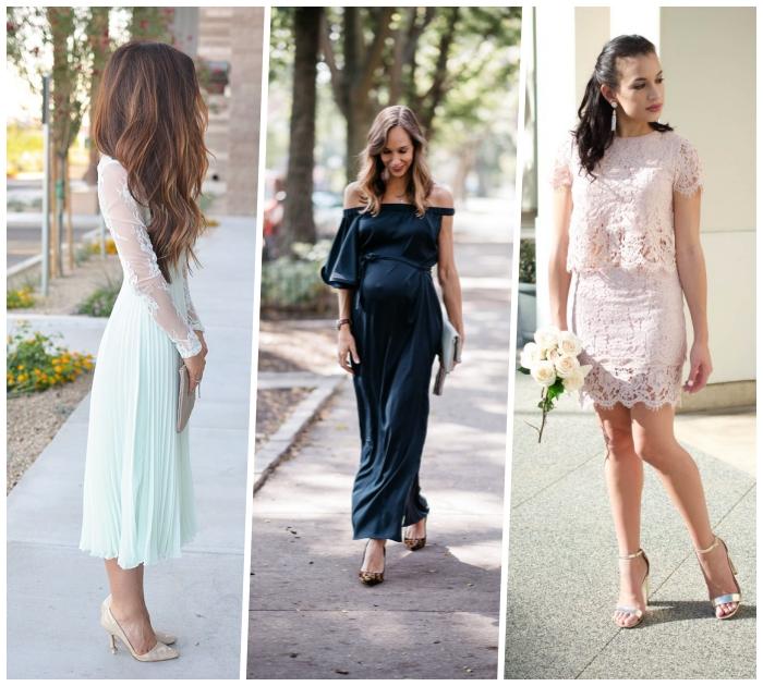 kleider für hochzeit als gast, hochzeitsgast outfit ideen, hellblaues kleid mit langen ärmeln, gerader rock mit weitem top