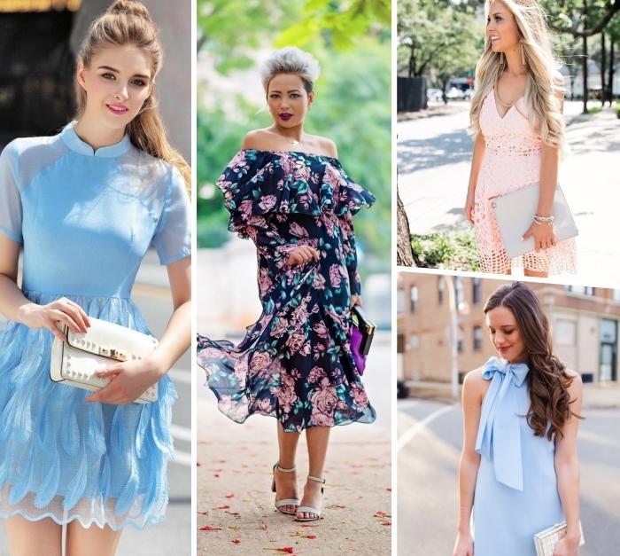 kleider für hochzeit als gast, festliche kleidung frauen, dunkelblaues kleid mit blumen muster, hellblaues sommerkleid mit schleife