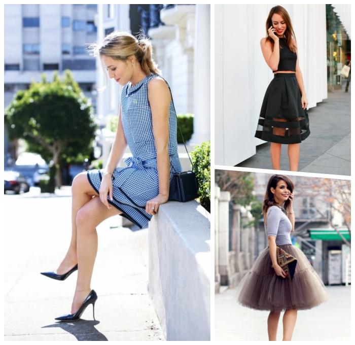 kleider für hochzeit als gast, weiter schwarzer rock mit engem top, gestreiftes kleid, sommer outfits frauen