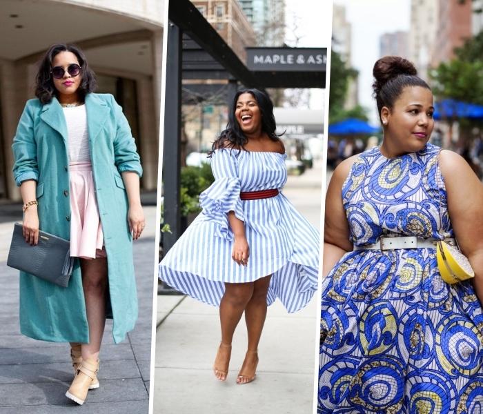 festliche mode für mollige, buntes sommerkleid in blau, weiß und gelb, rosa rock, weiße bluse, türkisfarbene mantel