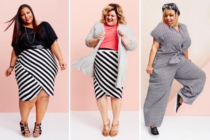 trendige outfits, kleider für mollige frauen, gestreifter rock, schwarze weiße bluse, graue karierte hemdhose