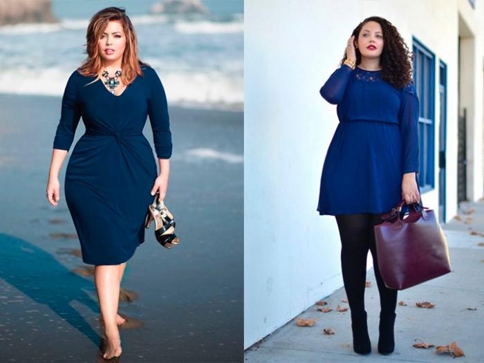 kleider große größen, knielanges dunkelblaues kleid mit langen ärmeln, dunkelrote tasche, große halskette