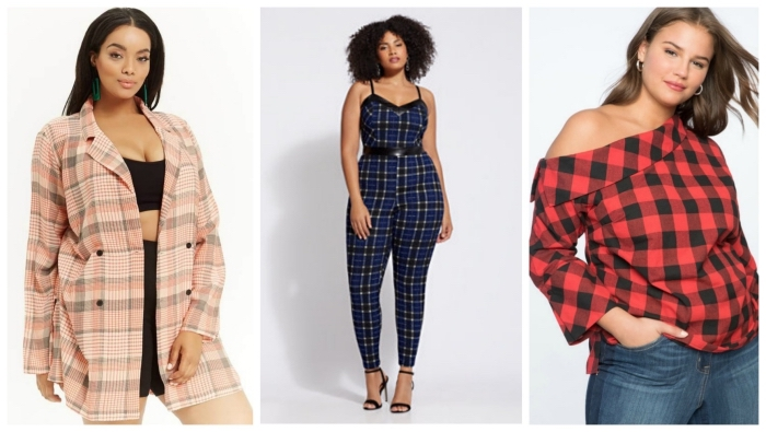 kleider große größen, moderne outfits 2019, dunkelblaue hemhose, karierter mantel, mode für mollige