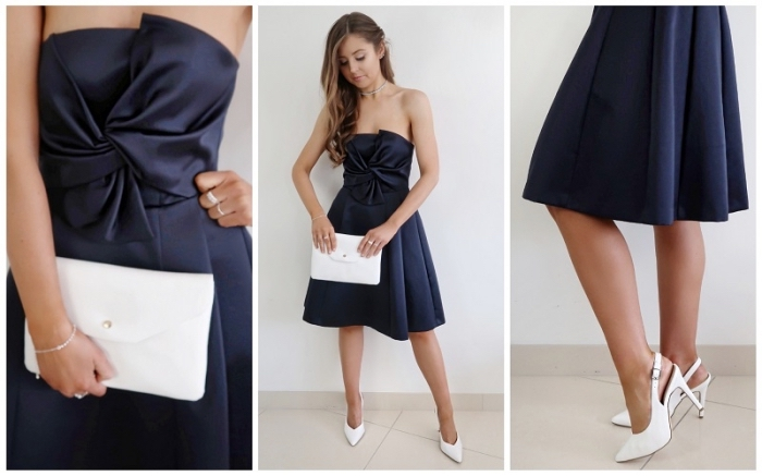 knielange kleider, festliches abendkleid mit großer schleife, weiße schuhe und weiße schuhe