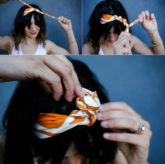 Haarband binden, einfache Anleitung, offene mittellange Haare, einfache Frisuren für den Alltag