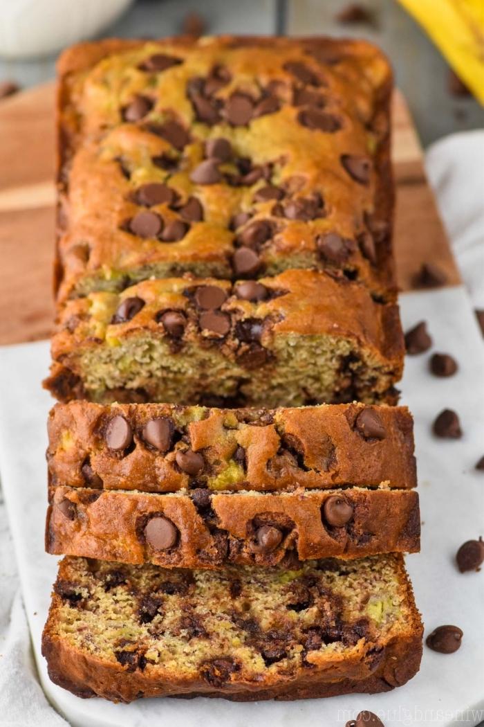 rezepte ohne gluten, schneller kuchen mit schokoladenchips, kuchen glutenfrei baken, nachtisch ideen