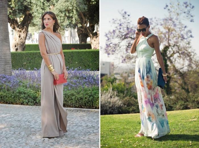 lange sommerkleider, mintfarbenes kleid mit floralen motiven, dunkelblaue tasche, beige hemdhose in griechischem stil