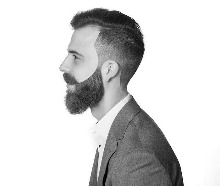 männerfrisuren undercut mann mit langem bart und kürzeren haaren, undercutstyle für den business