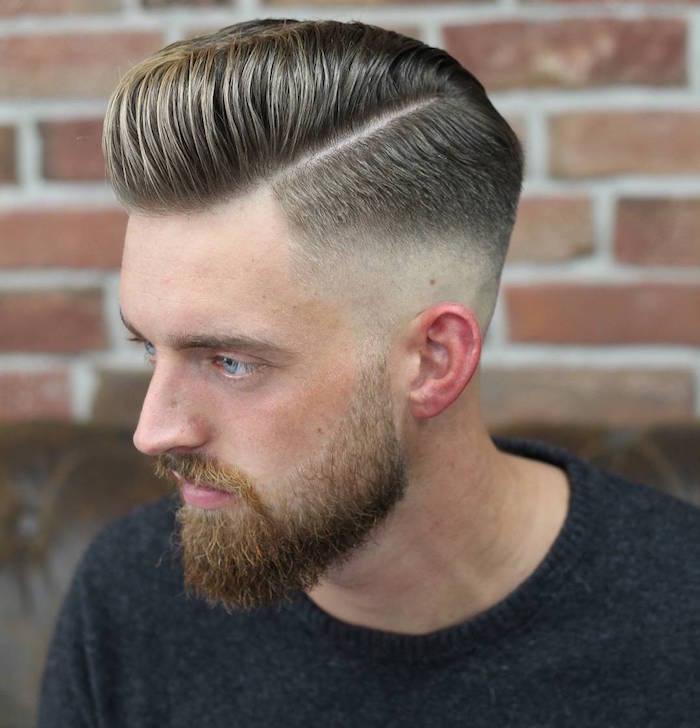 männerfrisuren 2019 kurz, ideen für dunkelblonde männer, hairstyle und bart