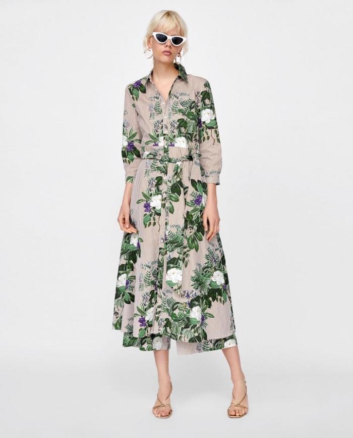 mode für frauen 2019, sommermode für damen, langes kleid mit floralem motiv, weiße sonnenbirlle