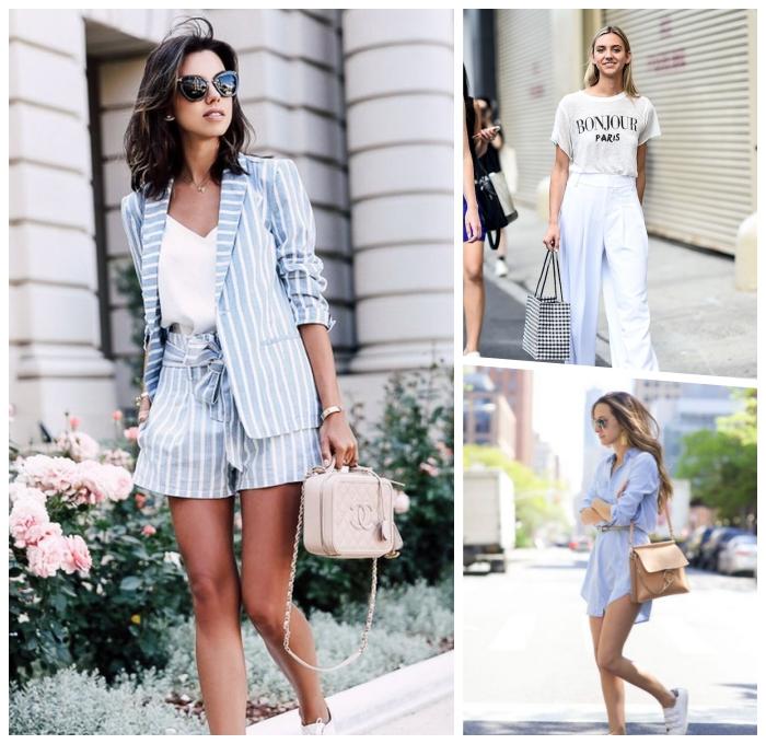 mode für frauen, business outfit für den sommer, gestreifte hose und sakko, hellrosa tasche, weiße hose, t shirt