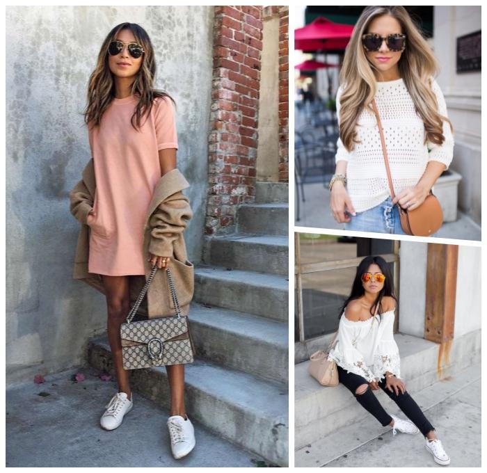 mode für frauen, weites rosa kleid in kombination mit beige mantel und weißer sportshuhen, schwarze hose, weiße weiße bluse
