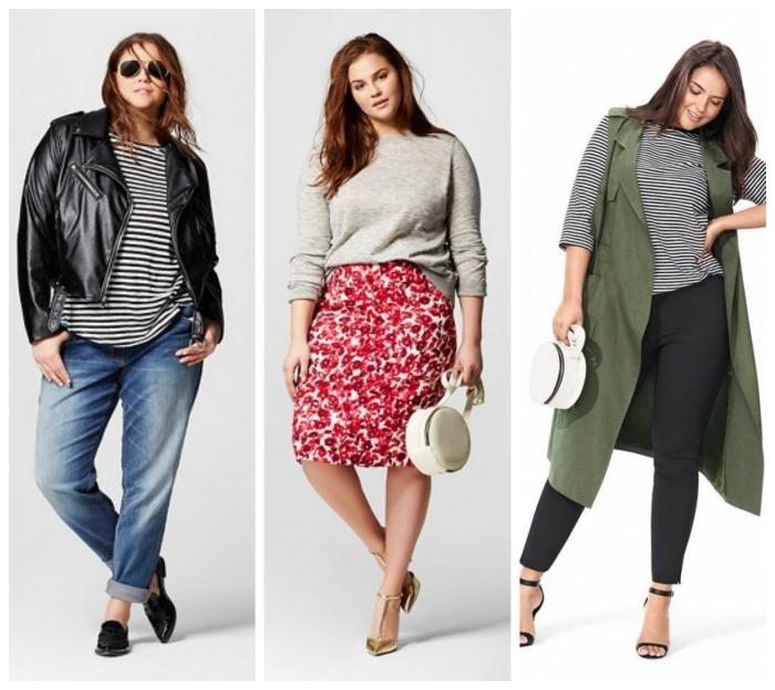 mode für mollige, gerader rock in schwarz und weiß kombiniert mit grauer bluse, schwarze jeanst, gestreifte bluse, grpne weste