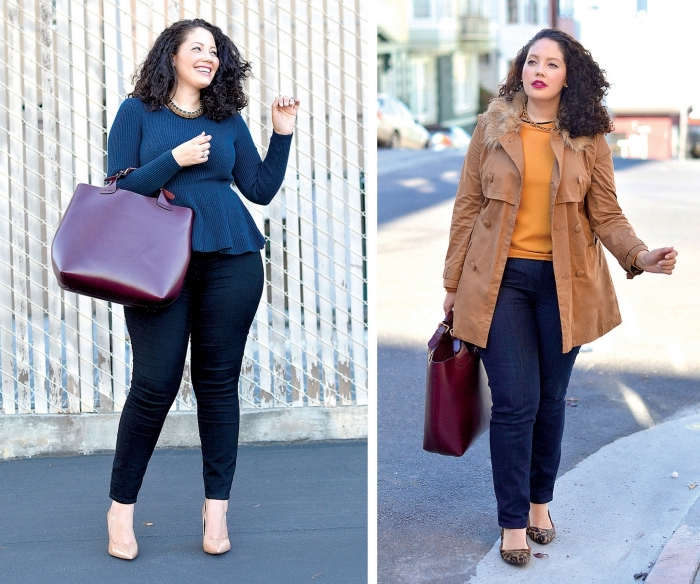 mode für mollige frauen, dunkelrote tasche, dunkle jeans, bluse mit langen ärmeln, hebst outfit ideen