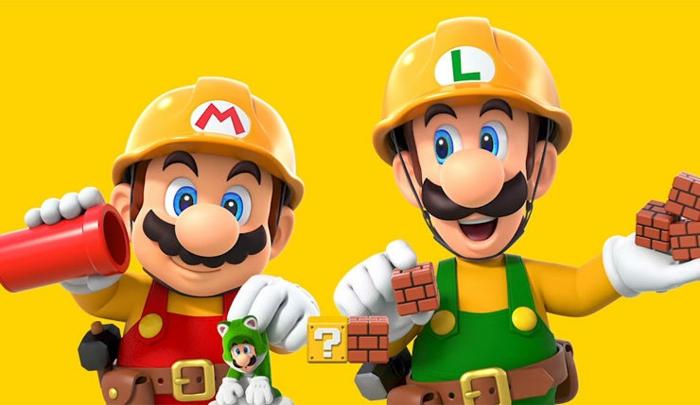 Super Mario und Luigi tragen Baumaterialen in dem Nintendo Spiel Super Mario Maker II